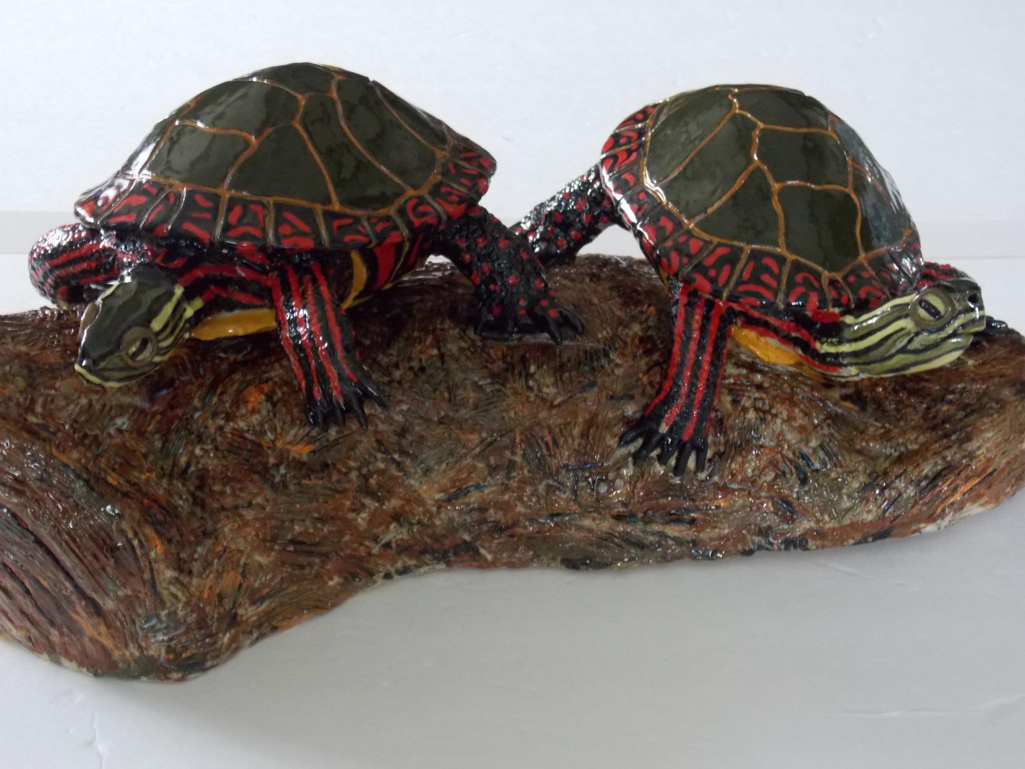 Painted_turtles_on_log__Muhich_2016___cone_6_ceramic__18_x_9_x_8_inches.JPG