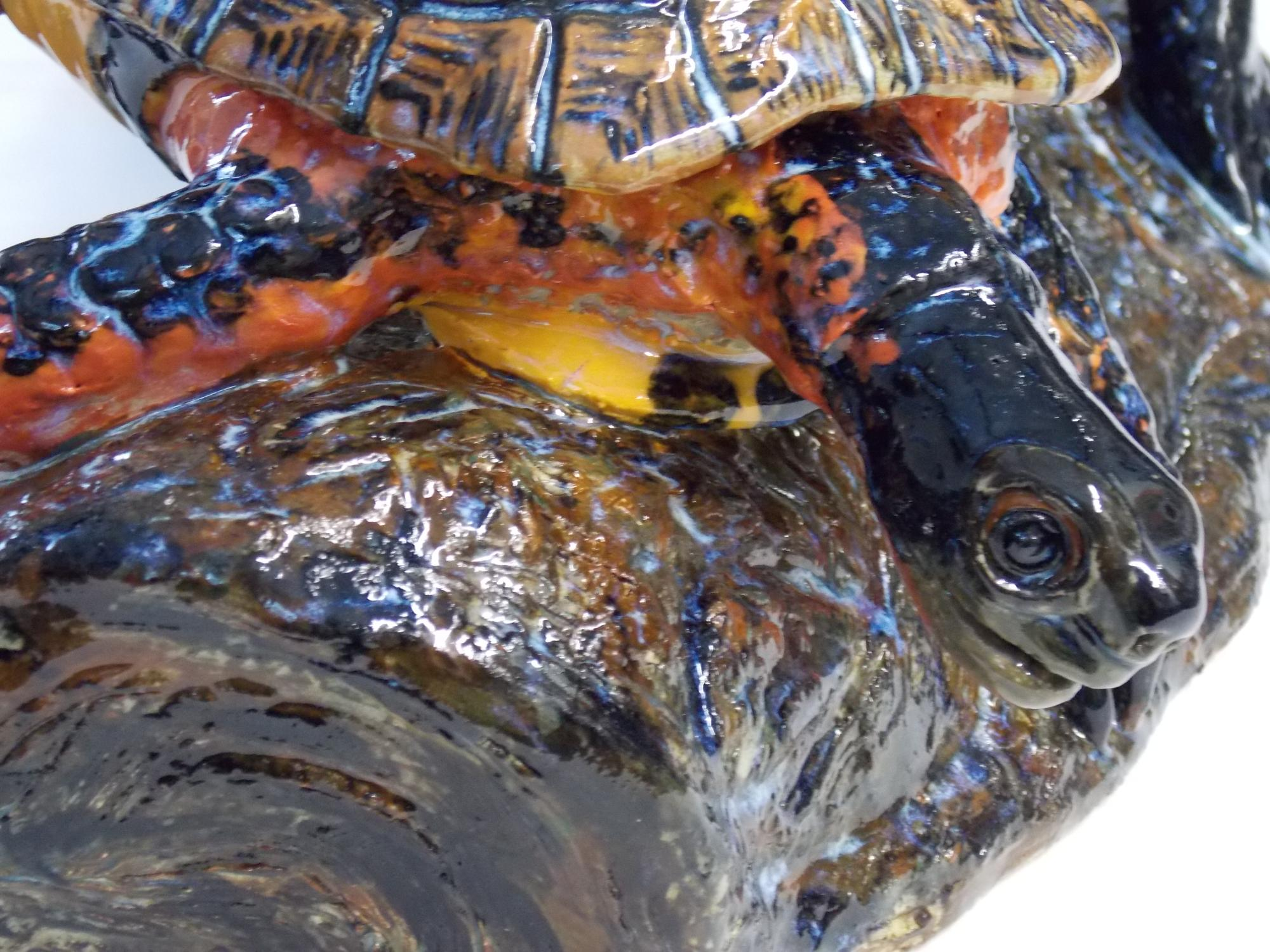 Wood_Turtles_on_log__detail__Muhich_2015__cone_6_ceramic__21_x_9_x_8_inches.JPG